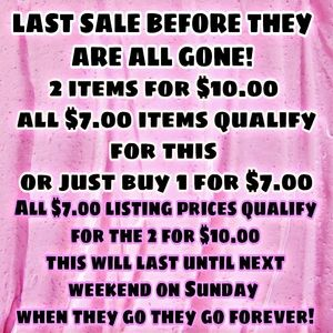 2 for $10.00/all items $10 and below